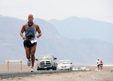 070723-N-6138R-001  SAN DIEGO (July 23, 2007) - U.S. Navy SEAL, Petty Officer 1st Class David Goggins runs 135 miles through Death Valley, California in the Kiehl's Badwater Ultra Marathon that began in the Badwater Basin, the lowest point in the United States. Goggins finished the race in 3rd place 25 hours later on top of Mount Whitney, the highest point in the Continental United States. Goggins final time was a 4-hour improvement over his 2006 5th place finish. U.S. Navy photo by Mass Communication Specialist Seaman Brandon Rogers (RELEASED)